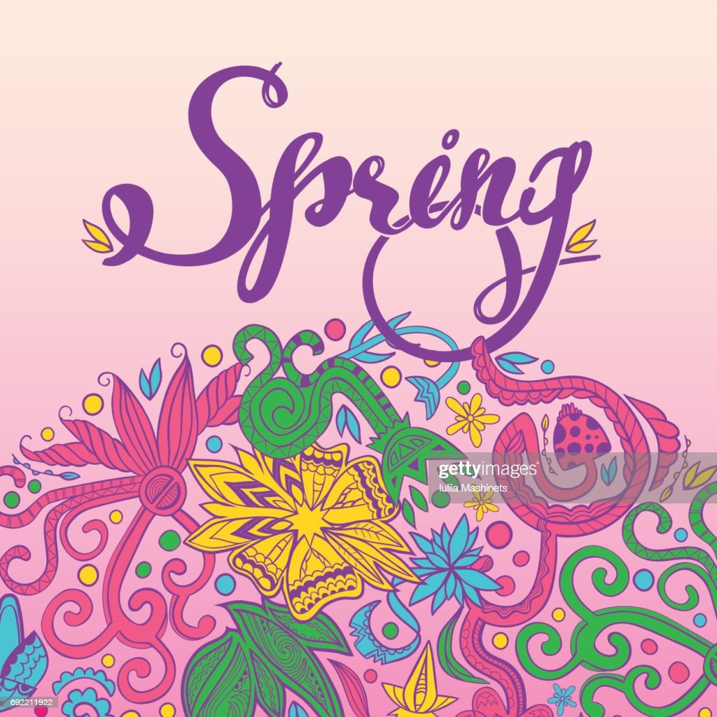 Spring And Round Border : Vector Art