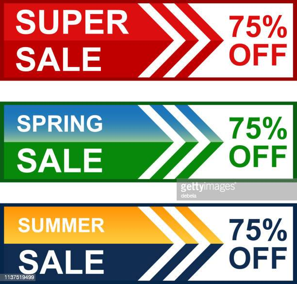 Spring And Summer Seventy Five Percent Super Sale Web Banner Collection