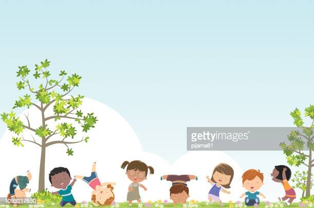 spring background and kids - child stock illustrations