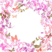 Spring background, Colorful butterflies wreath with pink lilac leaves, watercolor.