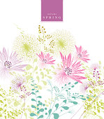 spring background floral pattern banner text