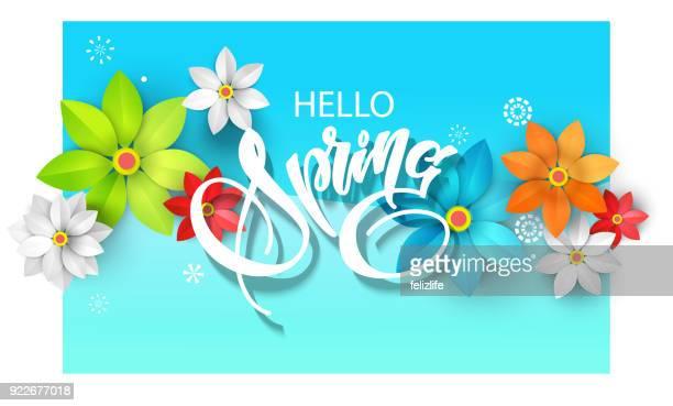 春の背景に紙素材の花、フライヤー、ポストカード、バナーのデザイン用インレタ