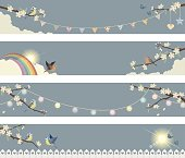 Spring banners with Birds and Cherry Blossoms