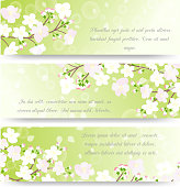 Spring banners with blossoming tree brunch