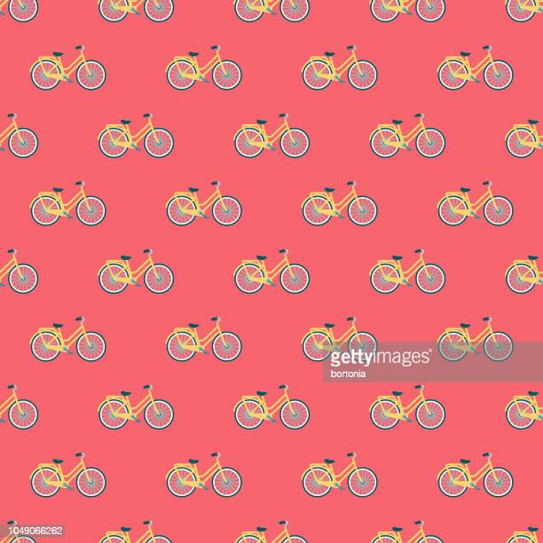 spring bicycle seamless pattern - may stock illustrations
