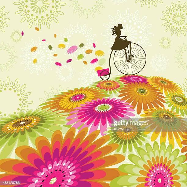 春のサイクリング - 結婚記念日のカード点のイラスト素材/クリップアート素材/マンガ素材/アイコン素材