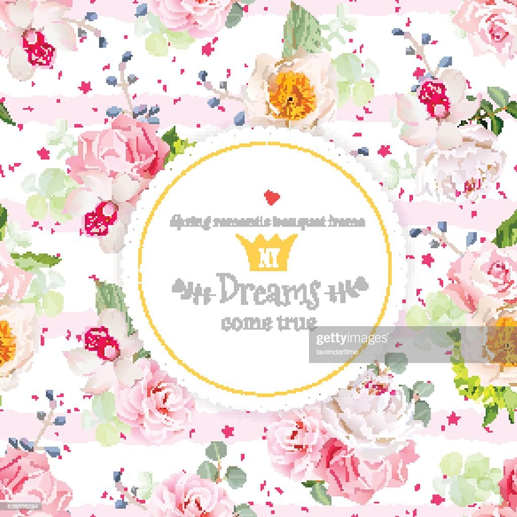 Spring bouquets of flowers round vector card.