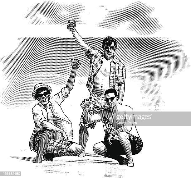 spring break party at the beach - scratchboard stock illustrations