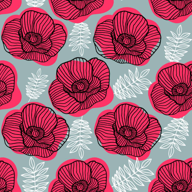 Spring bright seamless floral pattern with hand drawn red poppy flowers on gray background.
