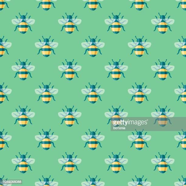 Spring Bumblebee Seamless Pattern