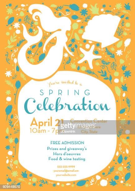 Spring celebration invitation design template with mermaid and starfish and sea shells