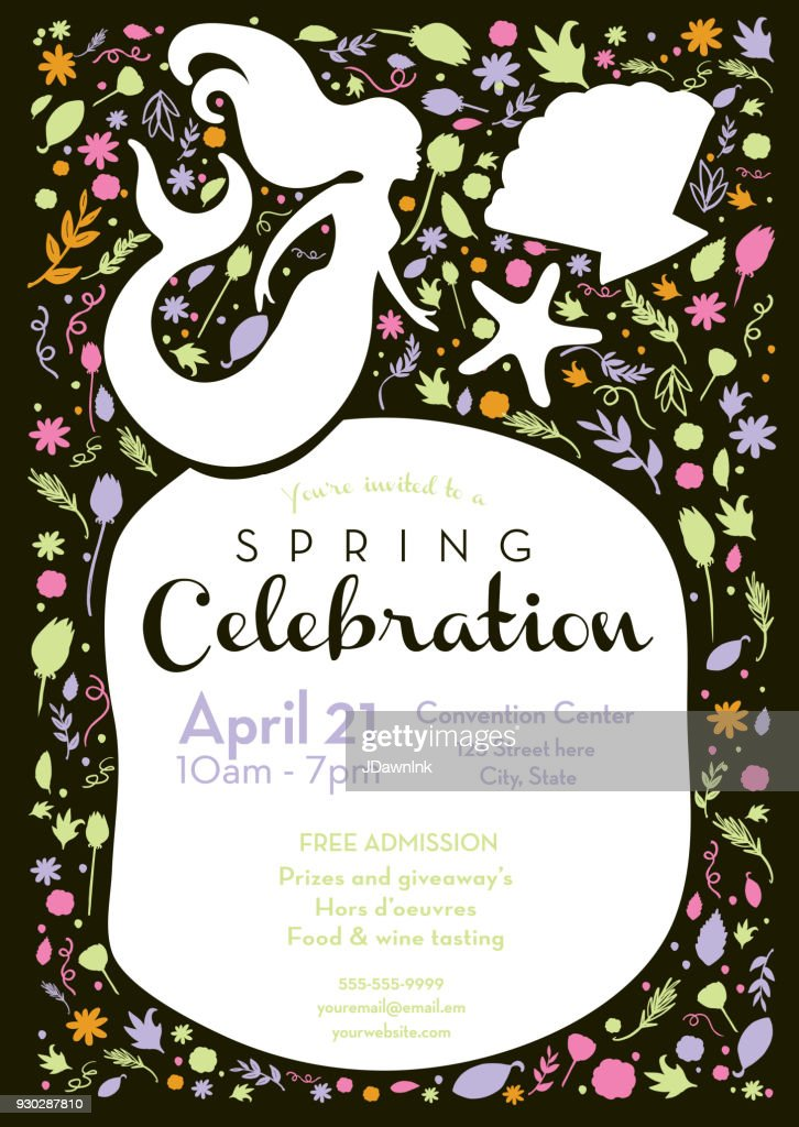 Spring celebration invitation design template with mermaid and spring celebration invitation design template with mermaid and starfish vector art stopboris