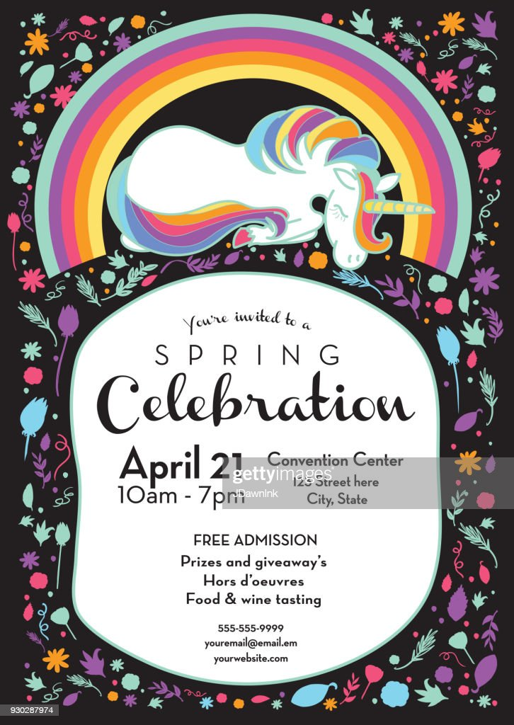 Spring celebration invitation design template with unicorn and rainbow : stock illustration