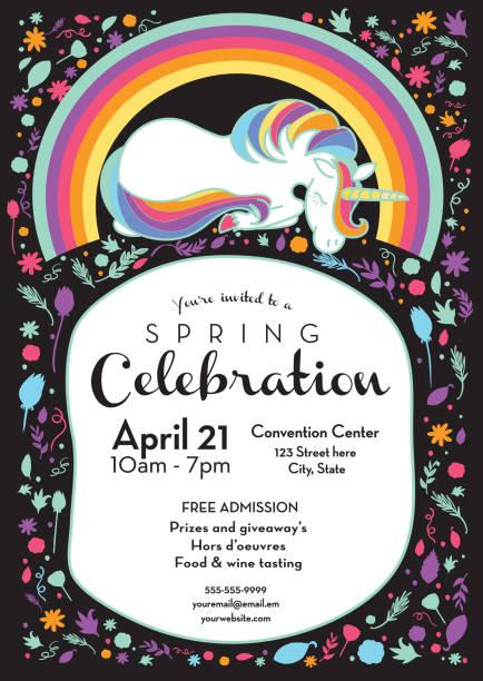 spring celebration invitation design template with unicorn and rainbow - unicorn stock illustrations