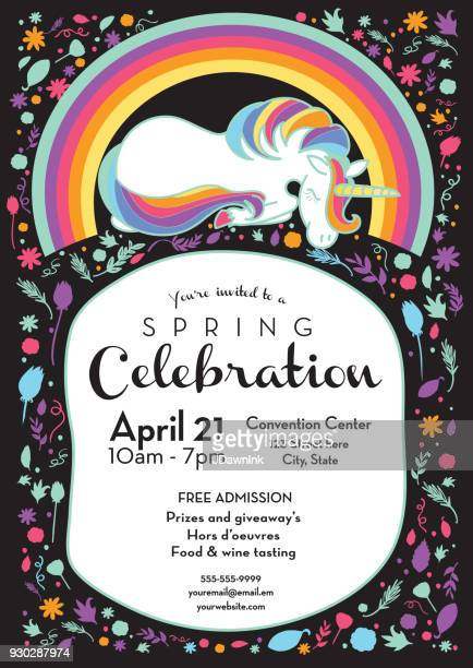 spring celebration invitation design template with unicorn and rainbow - unicorn stock illustrations