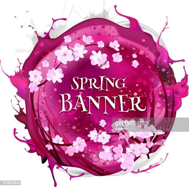 ilustraciones, imágenes clip art, dibujos animados e iconos de stock de cereza fondo de primavera - las cuatro estaciones