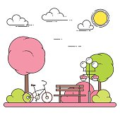 Spring city landscape with bench, bicycle in central park. Vector illustration. Line art.
