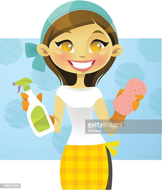 spring clean - washing up glove stock illustrations, clip art, cartoons, & icons