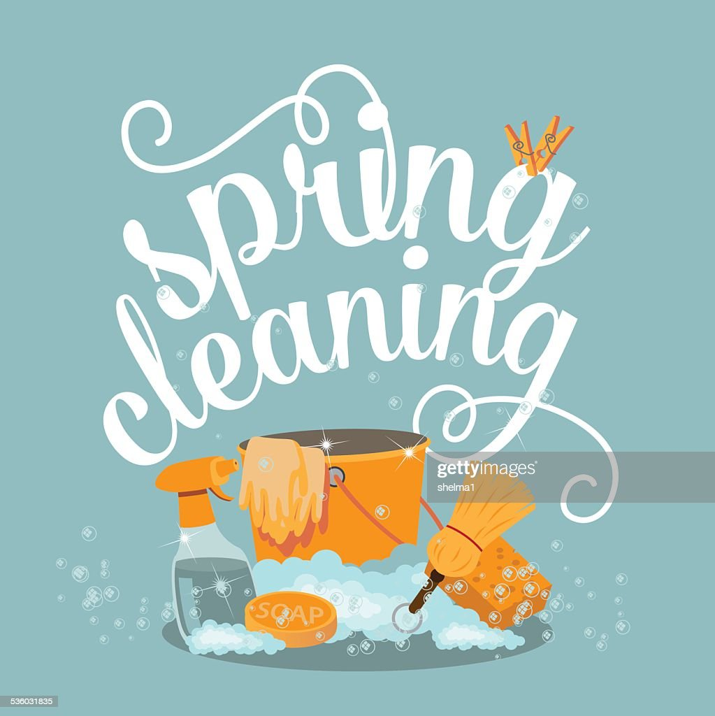 Spring Cleaning cheerful flat design