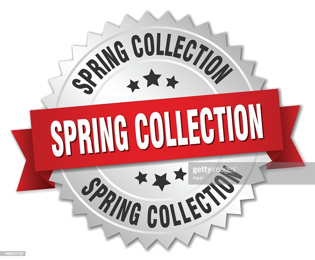 spring collection 3d silver badge with red ribbon