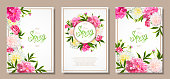 Spring collection backgrounds with peones