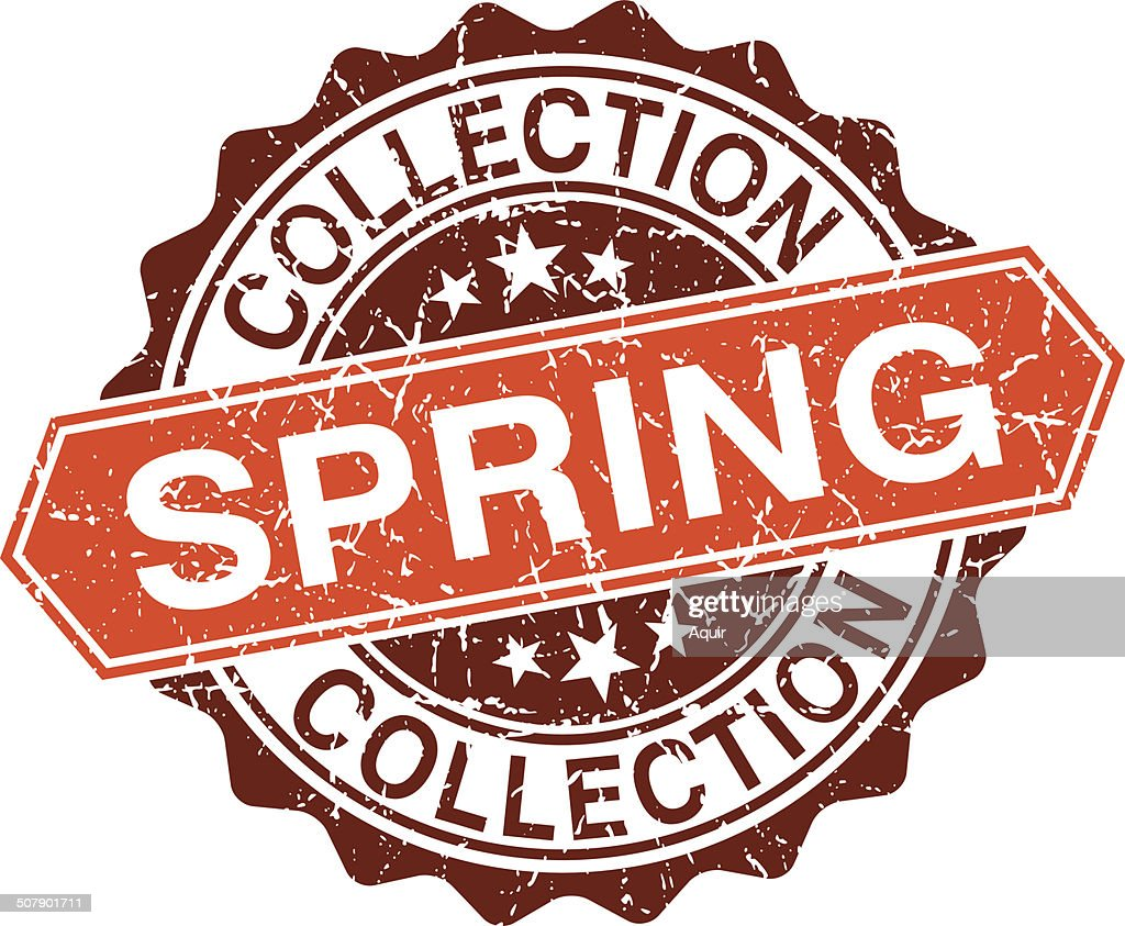 Spring collection grungy stamp isolated on white background