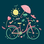 Spring composition with a bycicle
