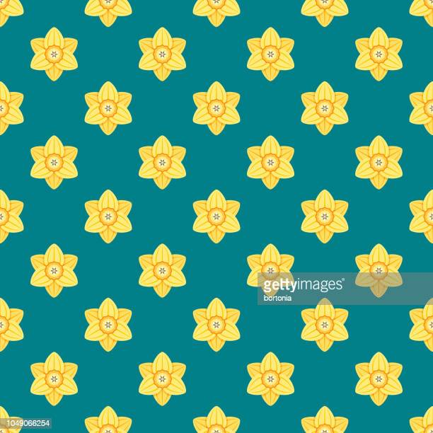 spring daffodil seamless pattern - daffodil stock illustrations, clip art, cartoons, & icons