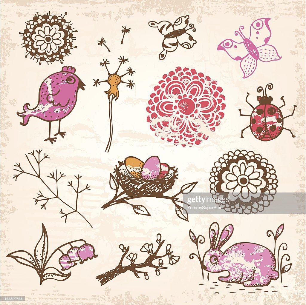 Spring doodle hand-drawn set