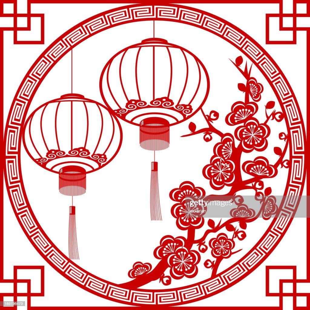 Spring Festival Lantern Paper-cut Art Frame