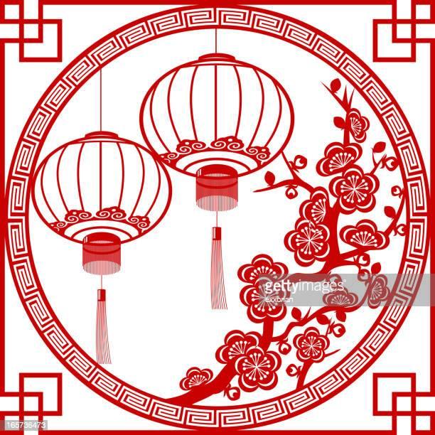 bildbanksillustrationer, clip art samt tecknat material och ikoner med spring festival lantern paper-cut art frame - kinesiska lyktfestivalen