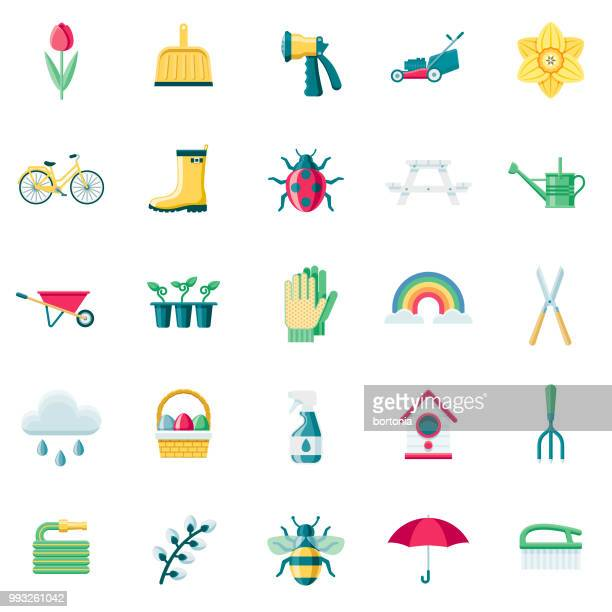 spring flat design icon set - watering can stock illustrations