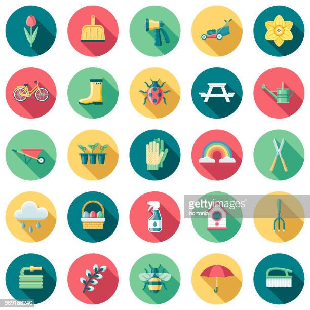 spring flat design icon set with side shadow - watering can stock illustrations