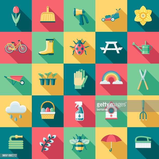 spring flat design icon set with side shadow - watering can stock illustrations, clip art, cartoons, & icons