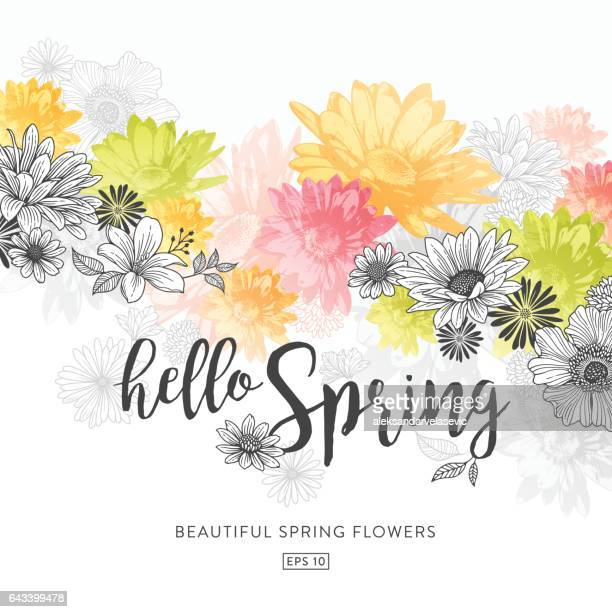spring floral background - flowering trees stock illustrations, clip art, cartoons, & icons