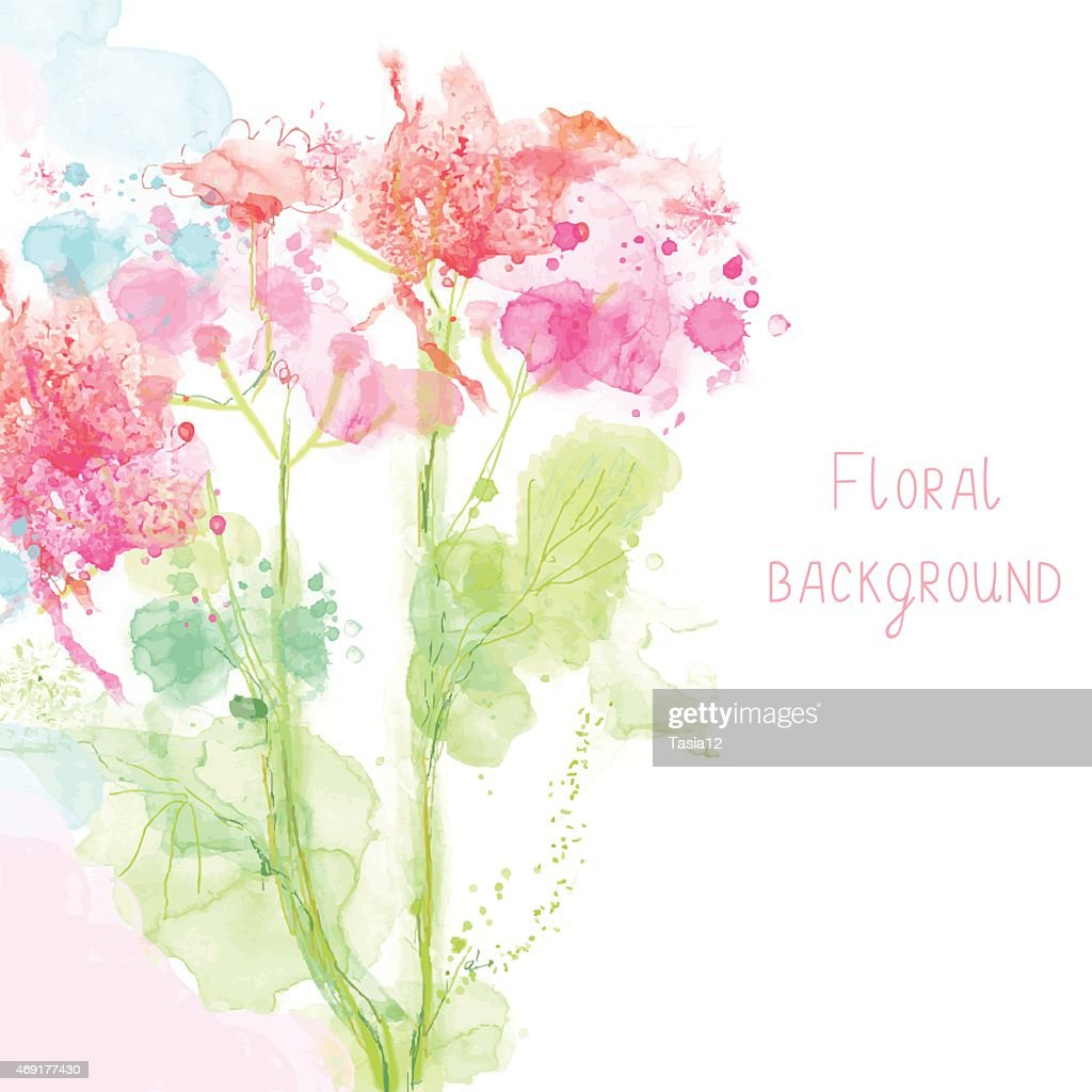 Spring Floral Background Watercolor High Res Vector Graphic