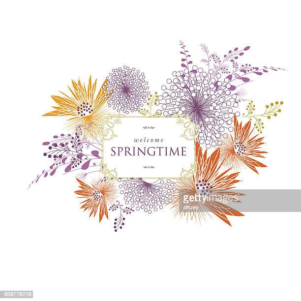 Spring floral bouquet banner text vector
