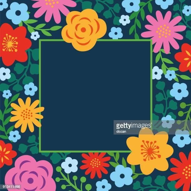 ilustrações, clipart, desenhos animados e ícones de quadro floral primavera - moldura de quadro composição