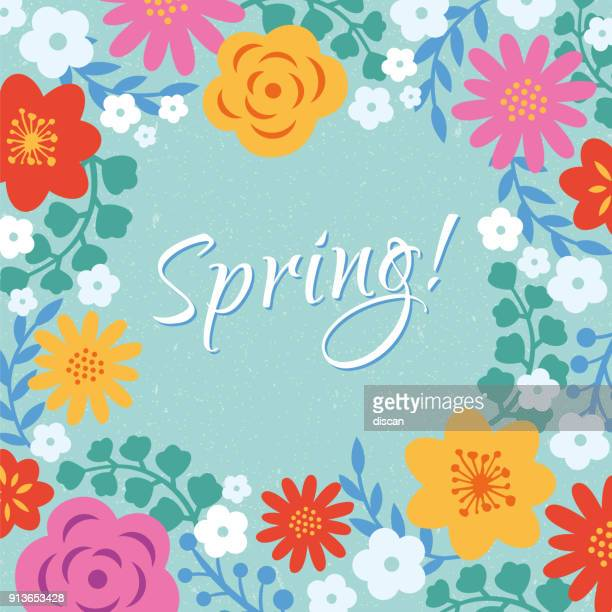 spring floral frame - single flower stock illustrations