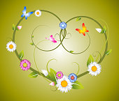 Spring floral heart made from flowers