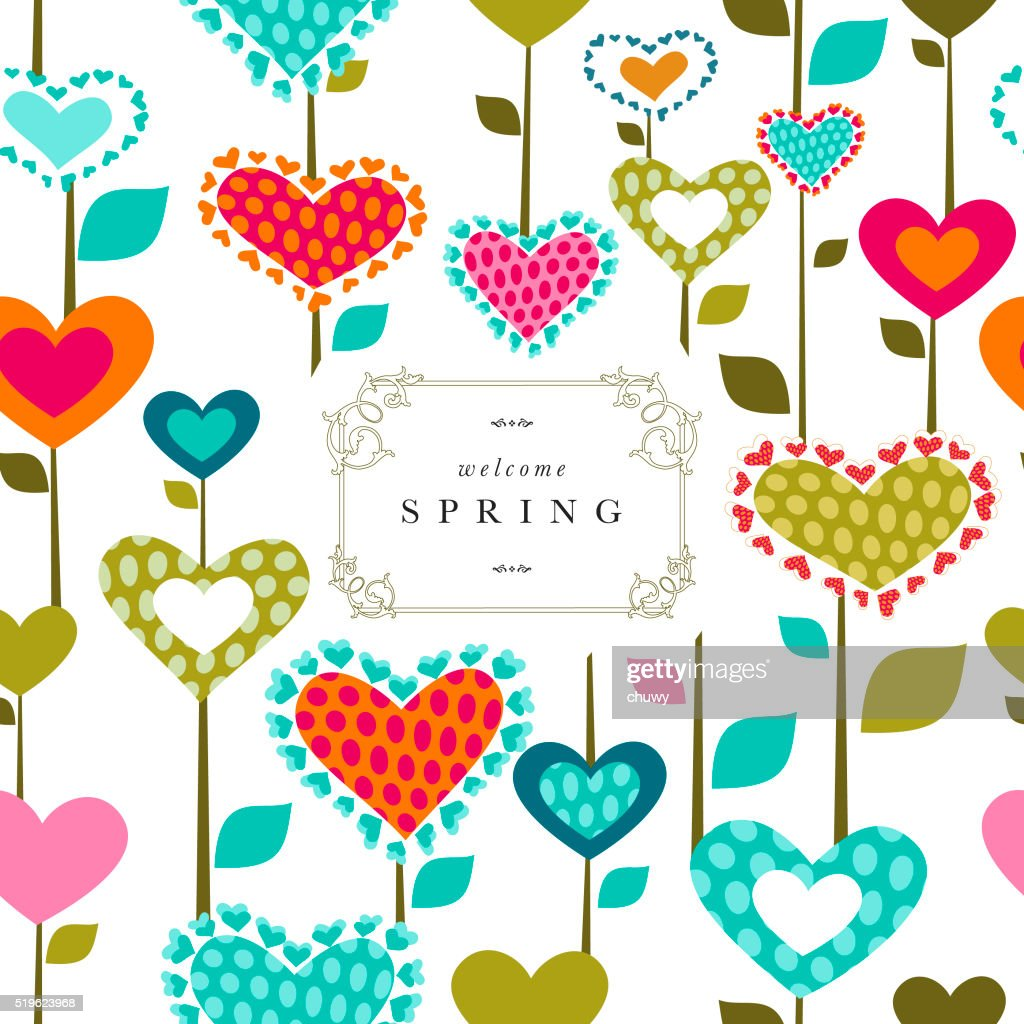 Spring flower banner text heart pattern love series