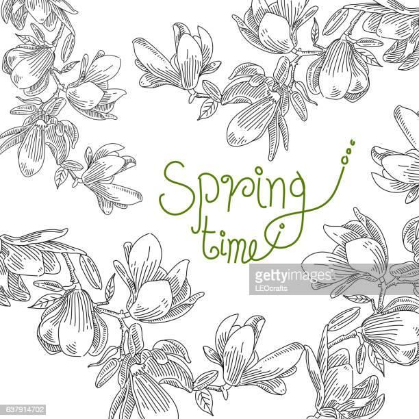 spring flower drawing - cherry blossom stock illustrations, clip art, cartoons, & icons