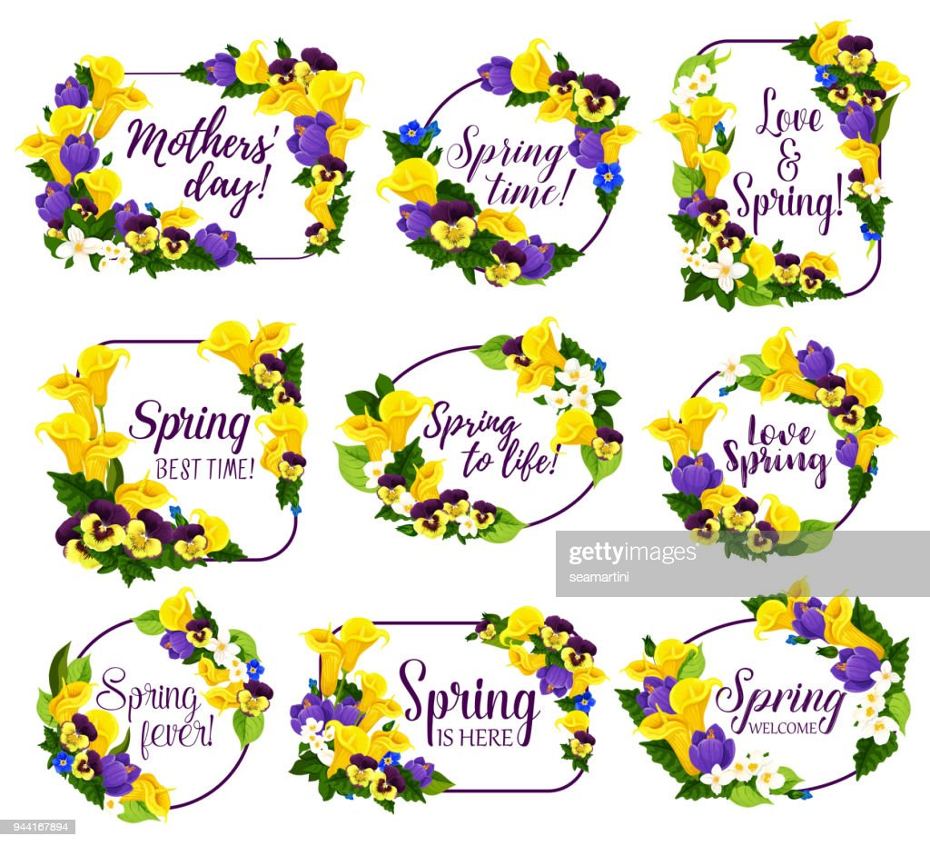 Spring flower frame for Springtime Holiday design