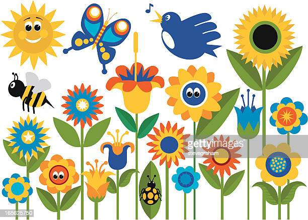 spring flower garden with insects - bumblebee stock illustrations, clip art, cartoons, & icons