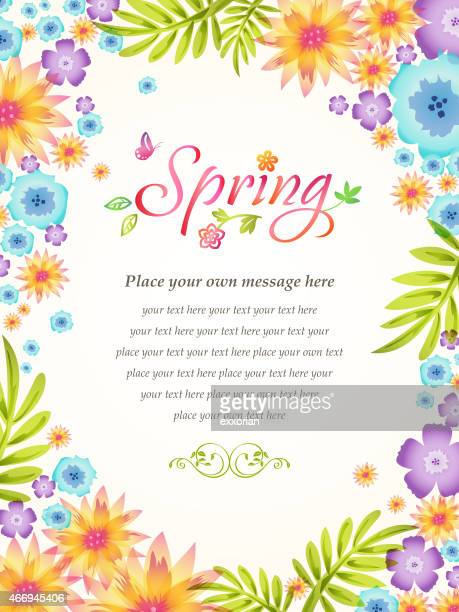 spring flowers blooming frame background - single flower stock illustrations