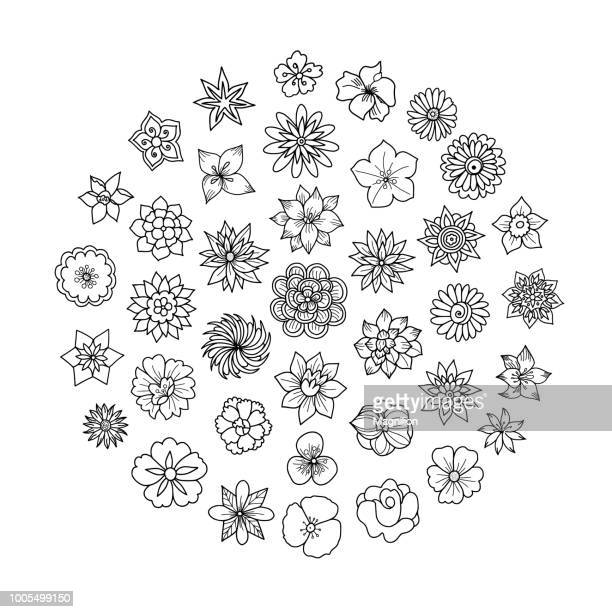 spring flowers doodles - rose flower stock illustrations, clip art, cartoons, & icons