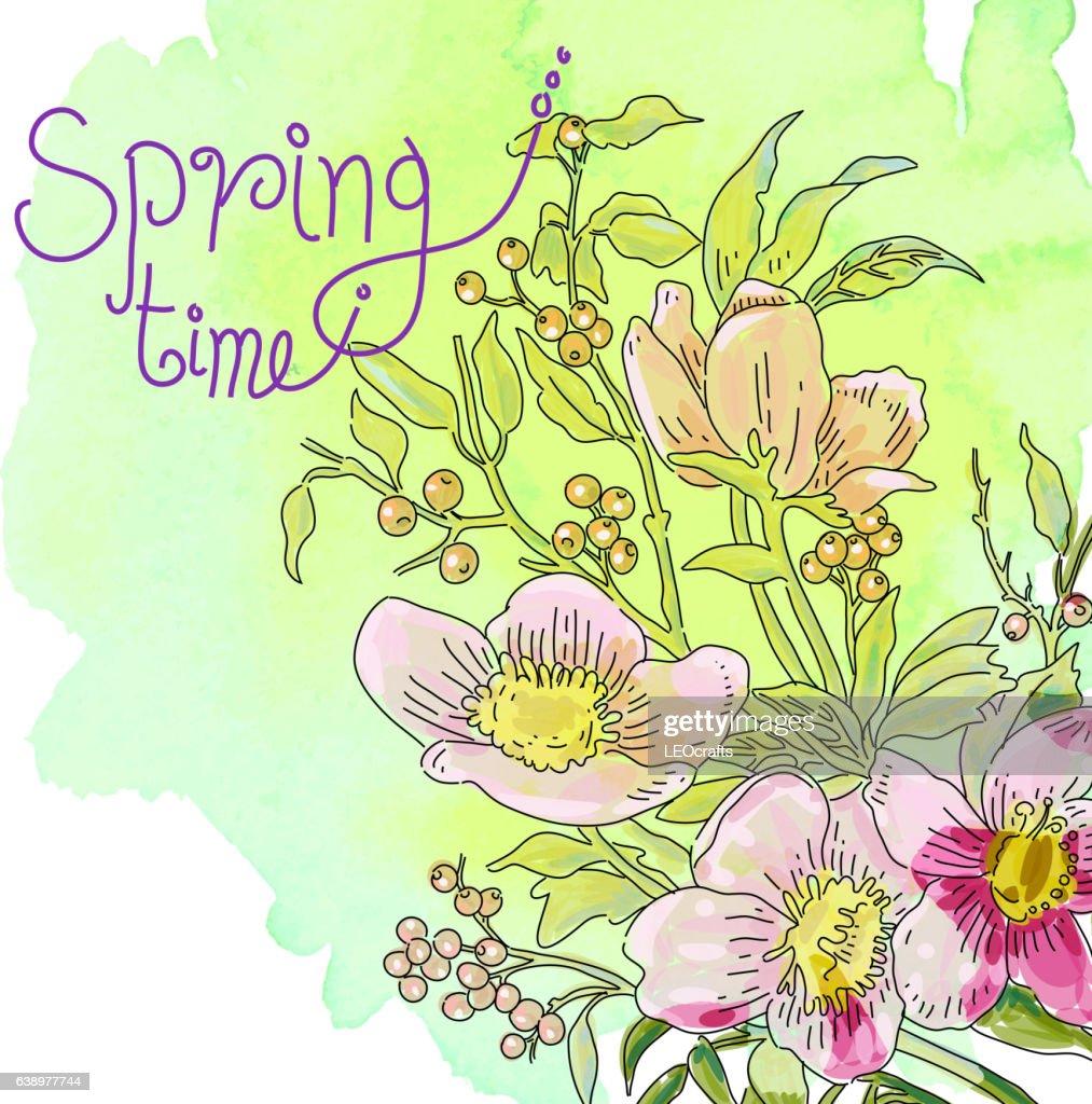 Spring Flowers Drawing Vektorgrafik Getty Images