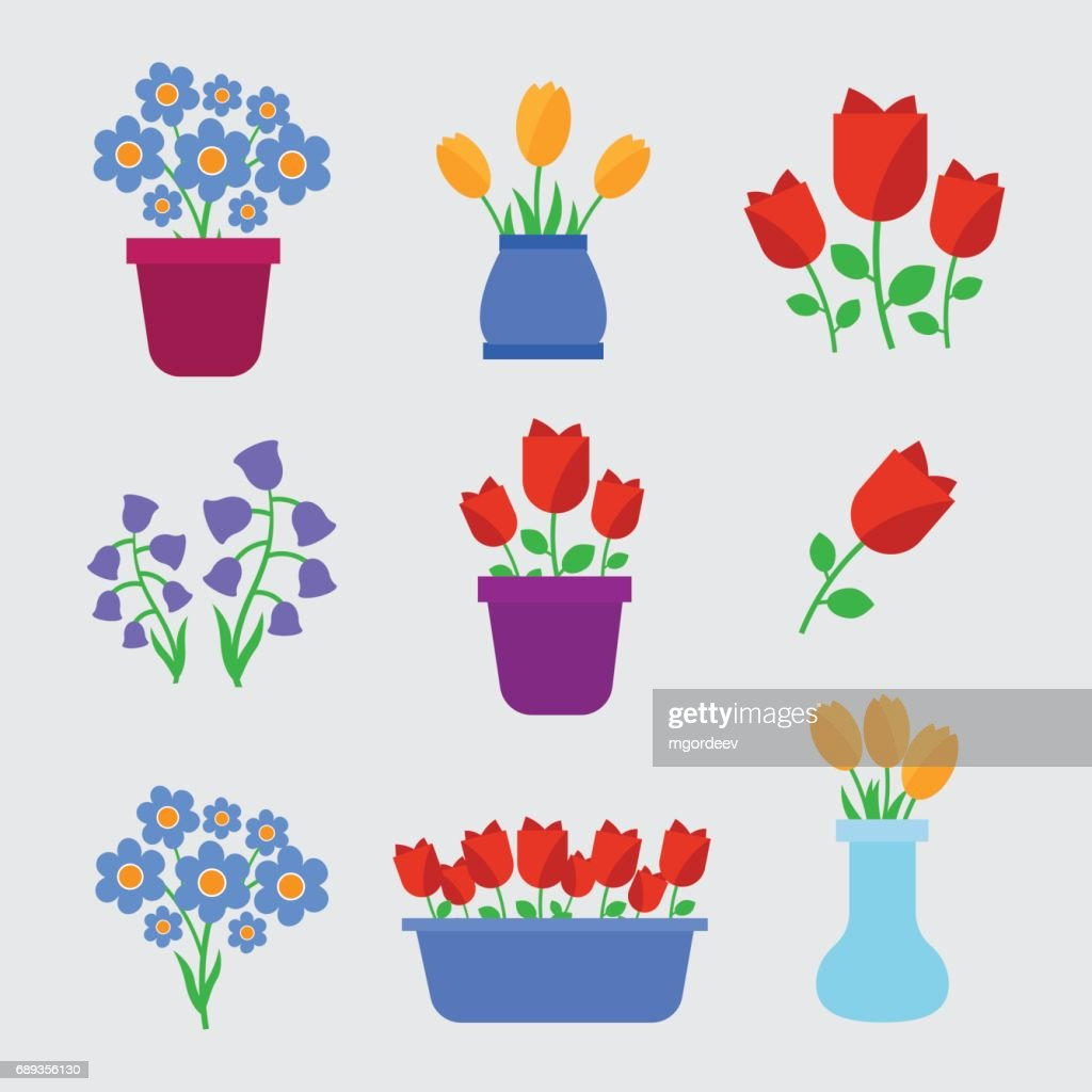 Spring Flowers In Pots And Flower Flowers Shop Spring Flowers Vector