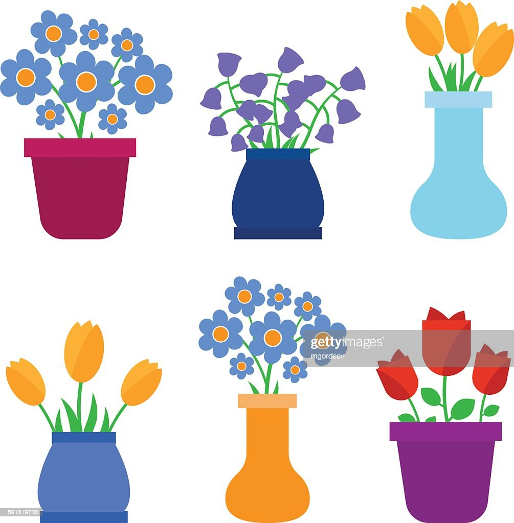 Spring flowers in pots and flower