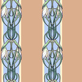 Spring flowers. Snowdrop flowers interlaced into an intricate ornament on avertical striped background. Art Nouveau style drawing.